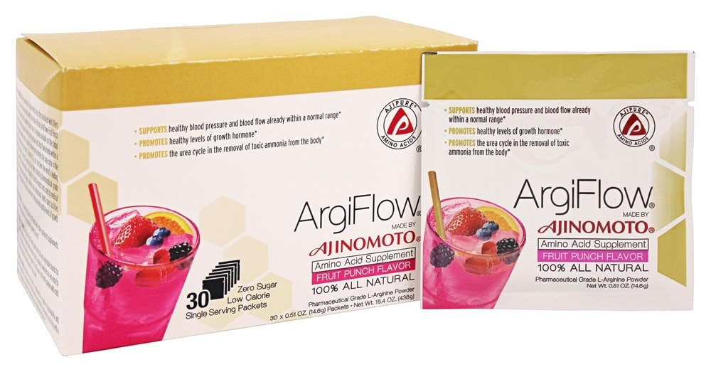 AjiPure - ArgiFlow 100% All Natural Amino Acid Supplement Fruit Punch Flavor - 30 Packet(s)