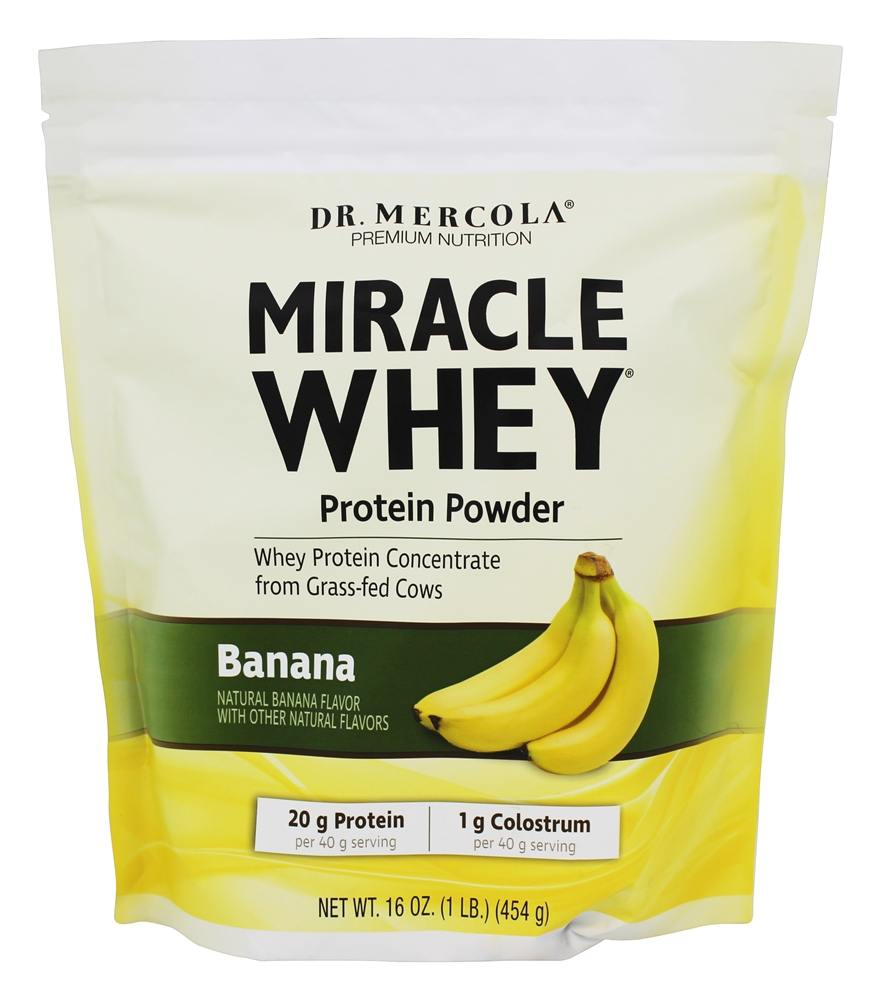 Dr. Mercola Premium Products - Miracle Whey Protein Powder Banana - 1 lb.