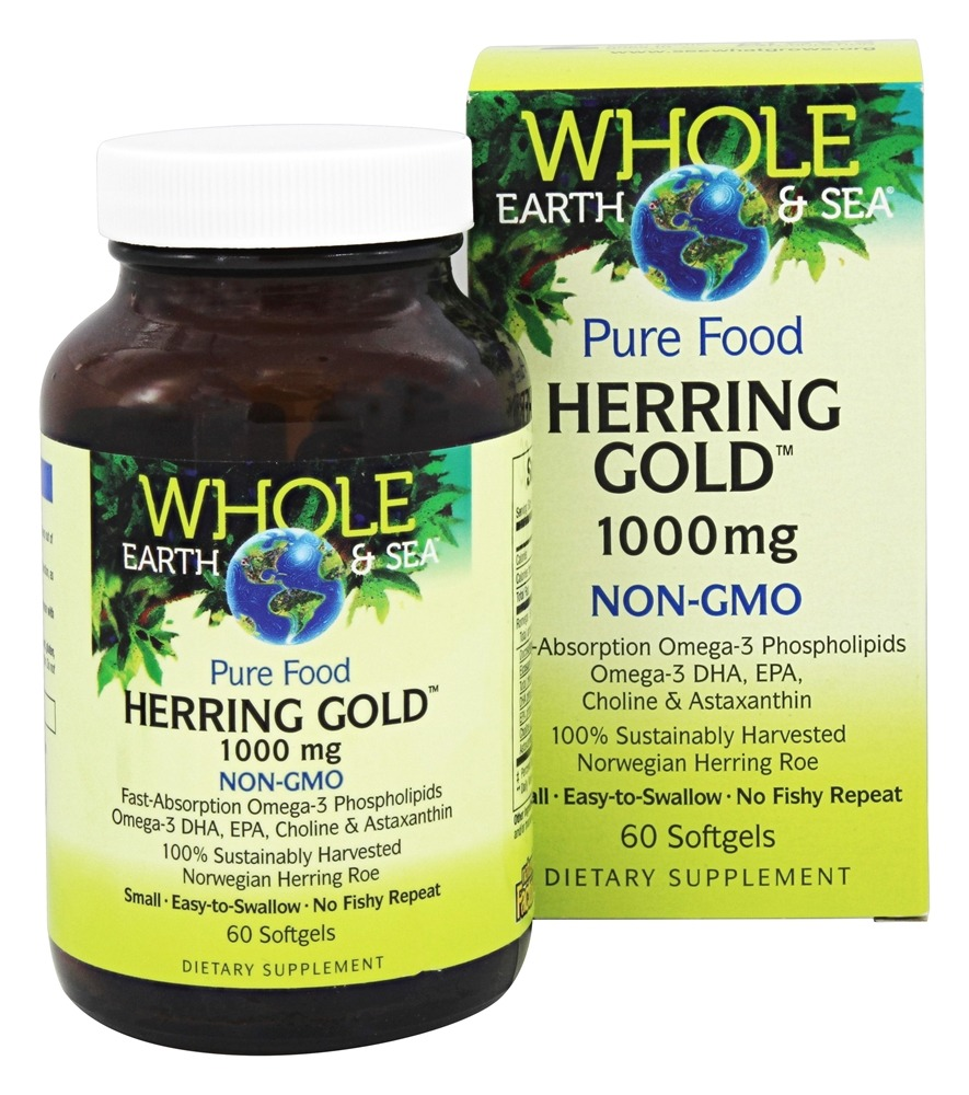 Whole Earth & Sea - Pure Food Herring Gold 1000 mg. - 60 Softgels