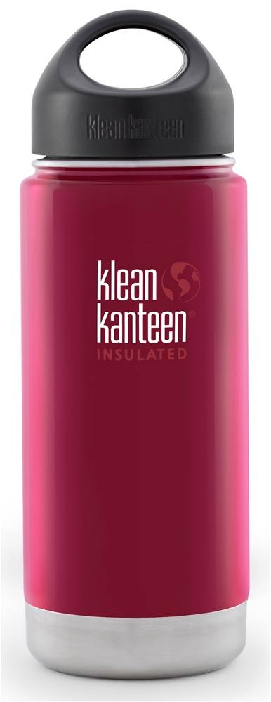 Klean Kanteen - Stainless Steel Water Bottle Wide Insulated with Stainless Loop Cap Red Pepper - 16 oz.