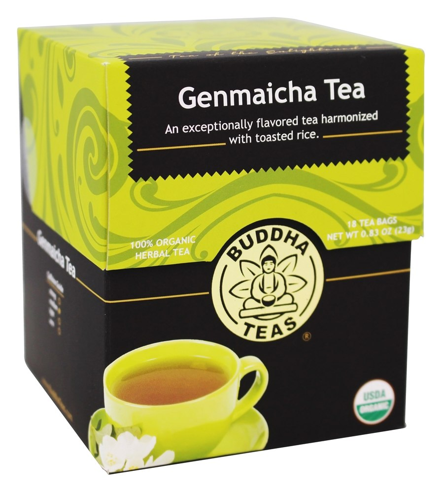 Buddha Teas - 100% Organic Herbal Genmaicha Tea - 18 Tea Bags