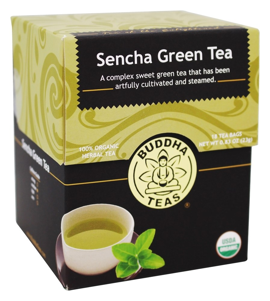 Buddha Teas - 100% Organic Herbal Sencha Green Tea - 18 Tea Bags