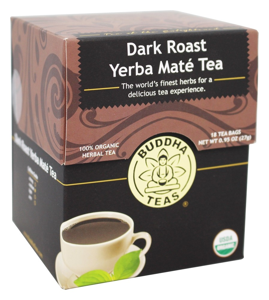 Buddha Teas - 100% Organic Herbal Yerba Mate Tea Dark Roast - 18 Tea Bags