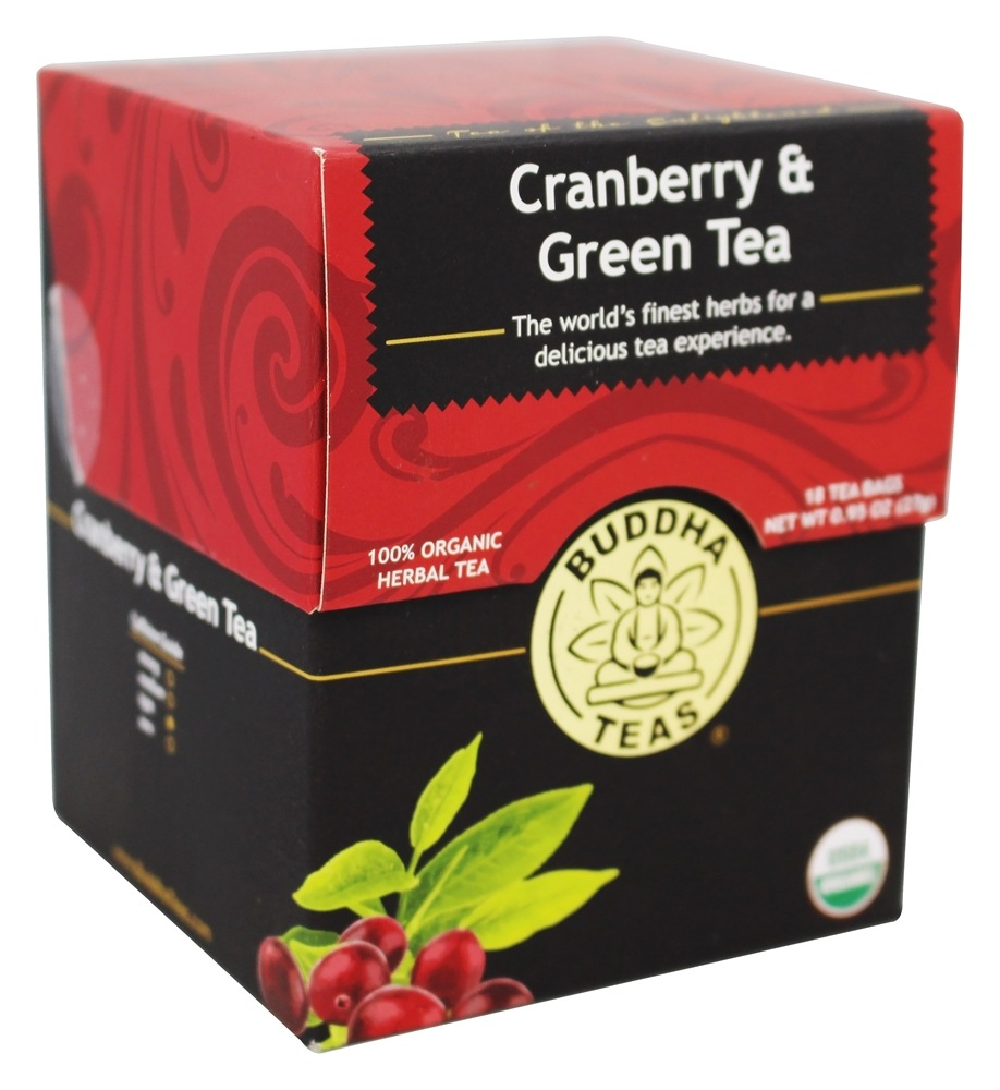 Buddha Teas - 100% Organic Herbal Cranberry & Green Tea - 18 Tea Bags