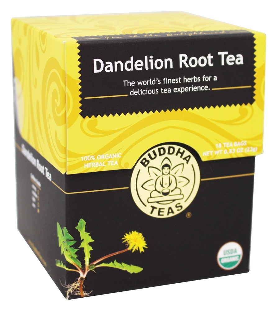 Buddha Teas - 100% Organic Herbal Dandelion Root Tea - 18 Tea Bags