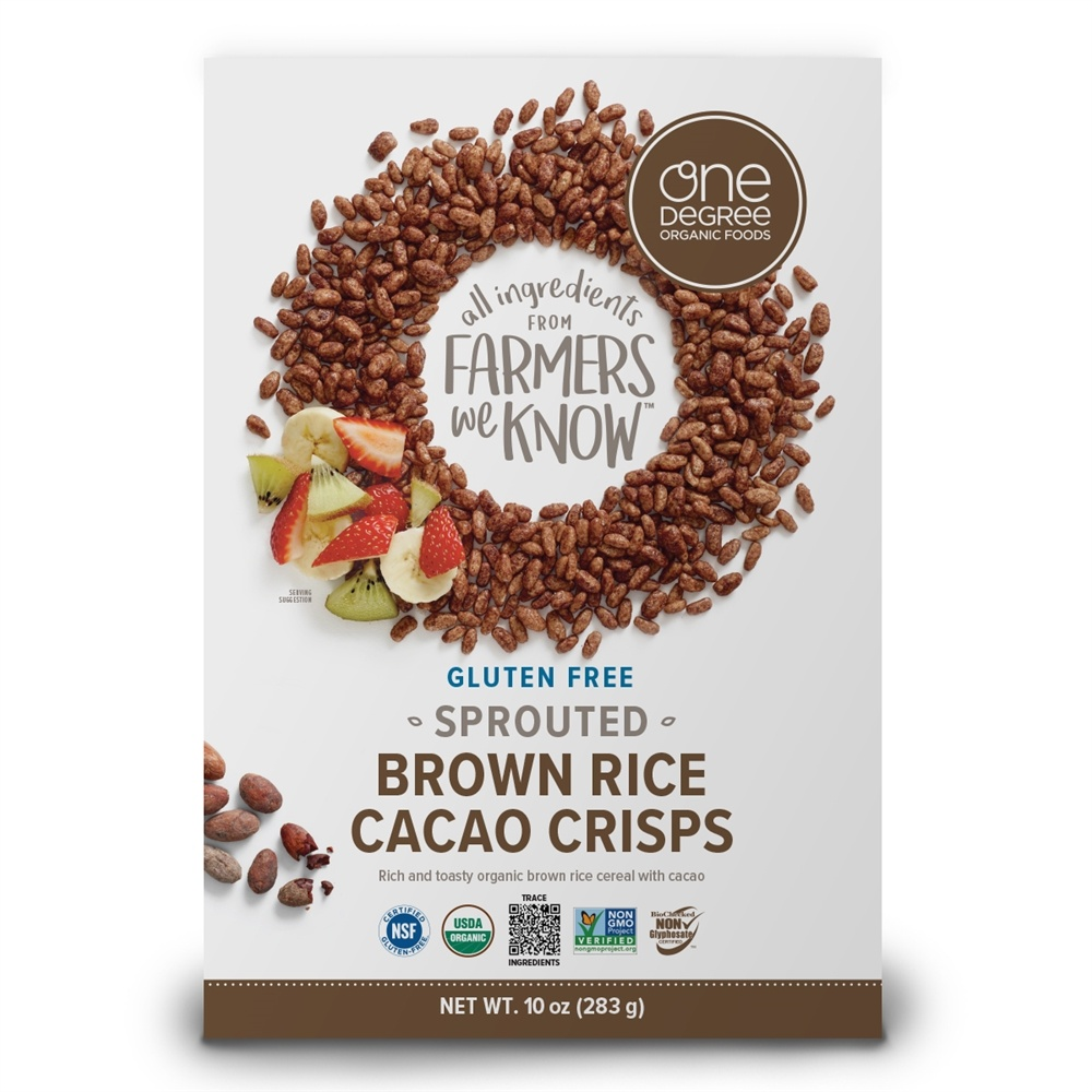 One Degree Organic Foods - Veganic Sprouted Brown Rice Cacao Crisps - 10 oz.