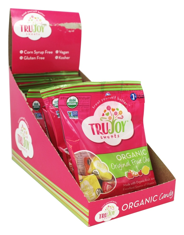 Tru Joy Sweets - Organic Original Fruit Chews Cherry, Lemon, Orange & Strawberry Flavors - 2.3 oz.