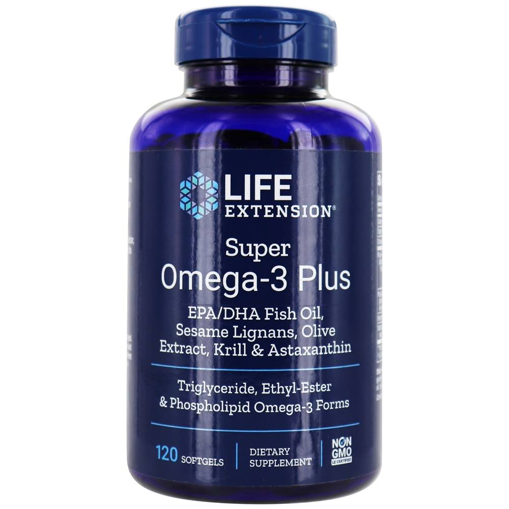 Life Extension - Super Omega-3 Plus EPA/DHA with Sesame Lignans, Olive Extract, Krill & Astaxanthin - 120 Softgels