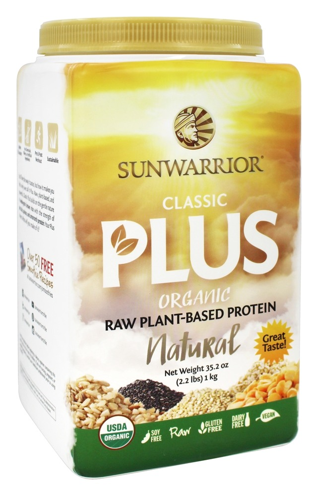 Sunwarrior - Classic Plus Organic Raw Plant-Based Protein Natural - 2.2 lbs.