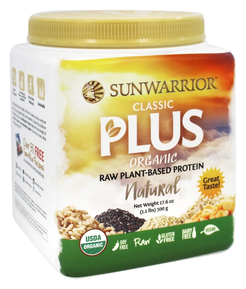 Sunwarrior - Classic Plus Organic Raw Plant-Based Protein Natural - 1.1 lbs.