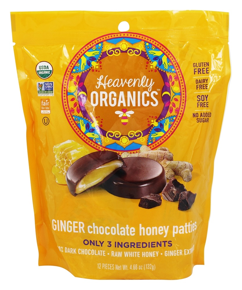 Heavenly Organics - Chocolate Honey Patties Ginger - 12 Piece(s)