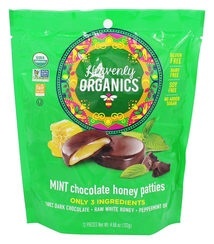 Heavenly Organics - Chocolate Honey Patties Mint - 12 Piece(s)