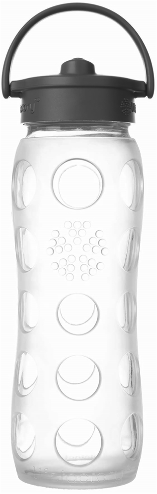 Lifefactory - Glass Beverage Bottle with Silicone Sleeve and Straw Cap Transparency Collection Clear - 22 oz.