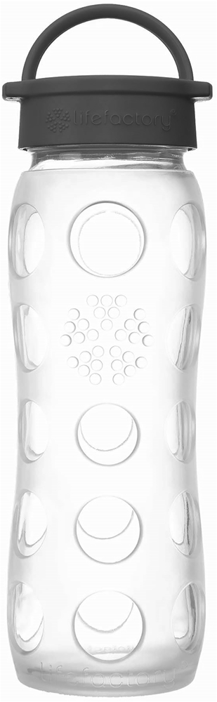 Lifefactory - Glass Beverage Bottle with Silicone Sleeve Classic Cap Transparency Collection Clear - 22 oz.