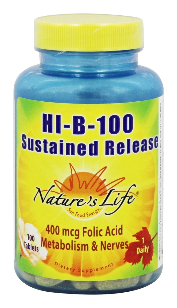 Nature's Life - Hi-B-100 Sustained Release - 100 Tablets