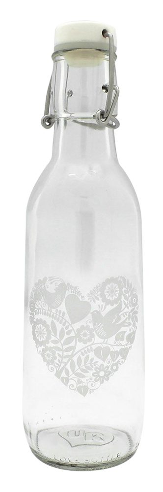 Love Bottle - Glass Water Bottle Ornate Heart - 500 ml.