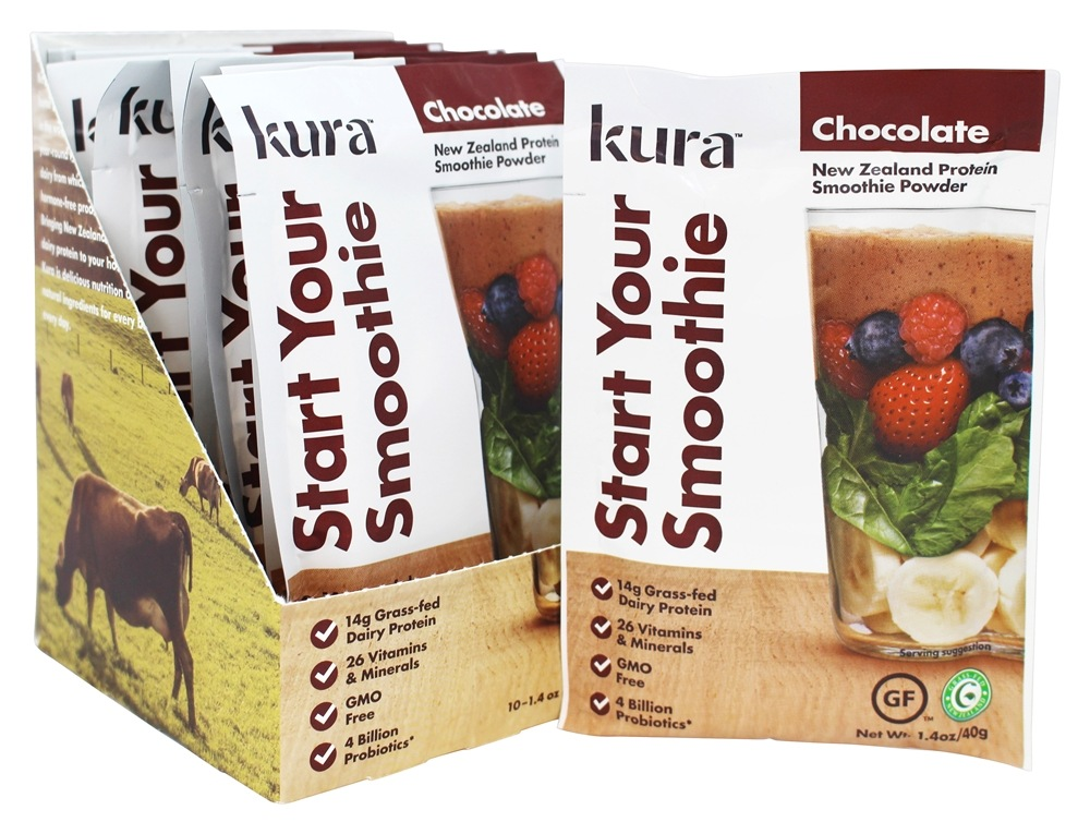 Kura - New Zealand Protein Smoothie Powder Chocolate - 10 Sachet(s)