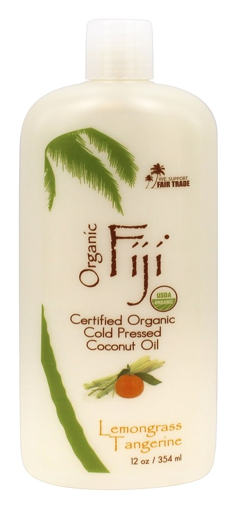 Organic Fiji - Organic Cold Pressed Coconut Oil Lemongrass Tangerine - 12 oz.