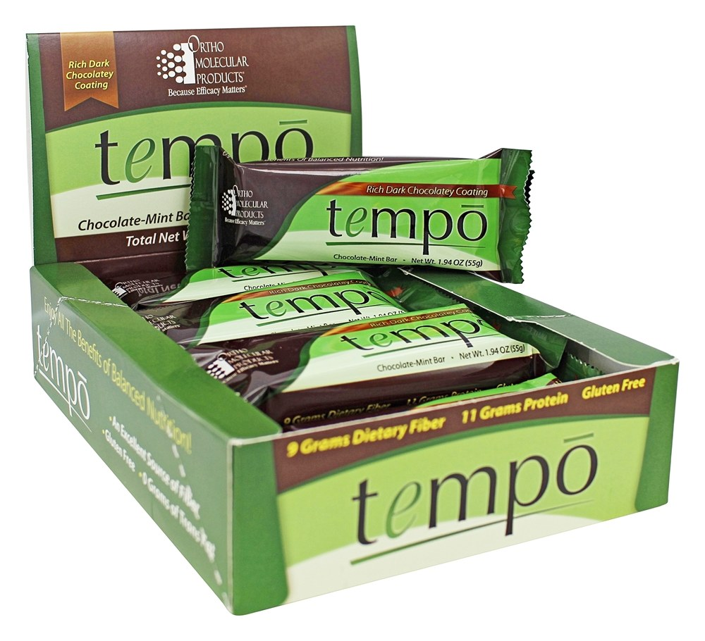 Ortho Molecular Products - Tempo Bar Chocolate Mint - 12 Bars