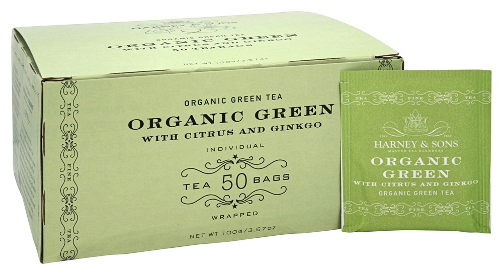 Harney & Sons - Organic Green Tea with Citrus and Gingko - 50 Tea Bags