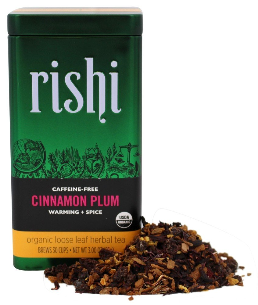Rishi Tea - Organic Loose Leaf Herbal Tea Caffeine-Free Cinnamon Plum - 3 oz.