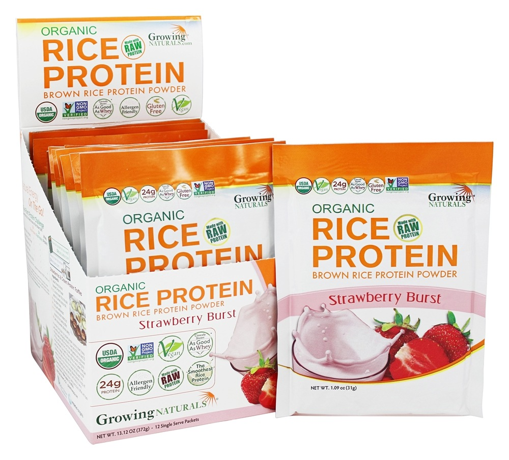 Growing Naturals - Organic Rice Protein Strawberry Burst - 12 Packet(s)