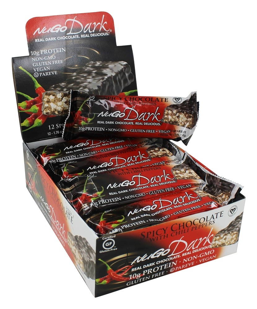 NuGo Nutrition - Dark Chocolate Bar Spicy Chocolate with Chili Peppers - 12 Bars