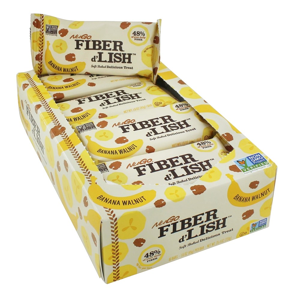 NuGo Nutrition - Fiber d'Lish Bar Banana Walnut - 16 Bars