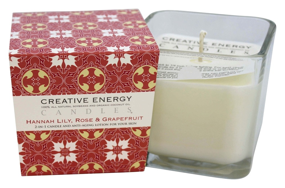 Creative Energy Candles - 2-in-1 Candle & Anti-Aging Lotion for Your Skin Hannah Lily, Rose & Grapefruit - 9 oz.