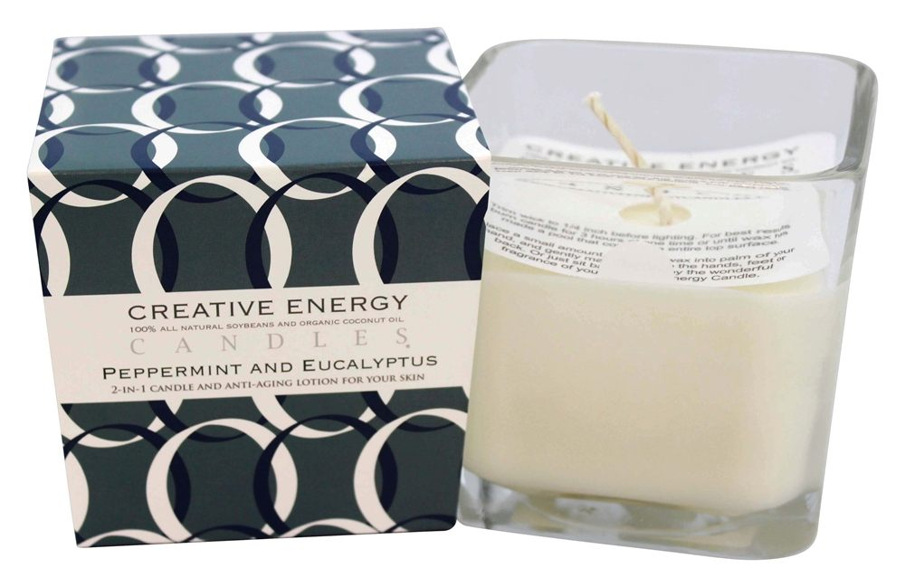 Creative Energy Candles - 2-in-1 Candle & Anti-Aging Lotion for Your Skin Peppermint & Eucalyptus - 9 oz.