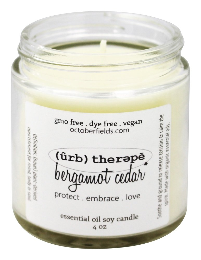 October Fields - Herbal Therapy Essential Oil Soy Candle Bergamot Cedar - 4 oz.