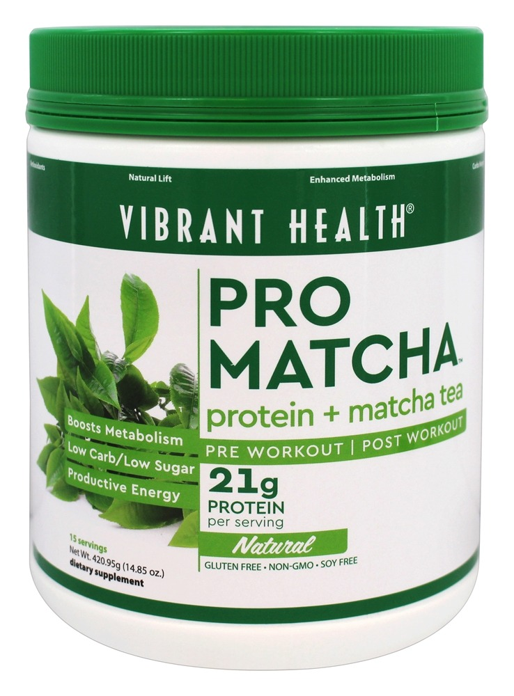 Vibrant Health - Pro Matcha Protein + Matcha Tea Powder Natural - 14.85 oz.