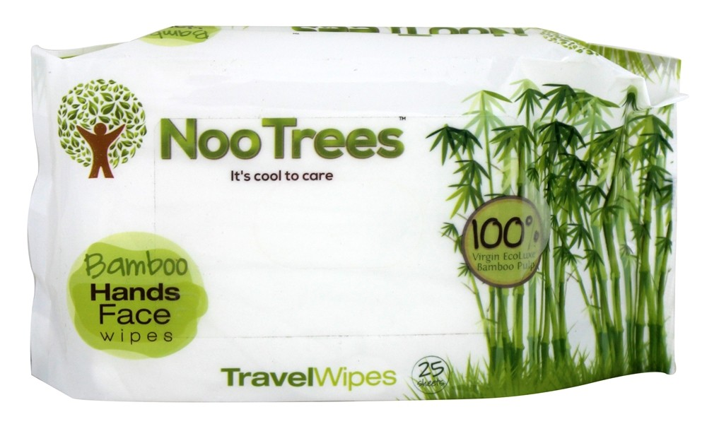 NooTrees - 100% Virgin Ecoluxe Bamboo Pulp Travel Wipes - 25 Wipe(s)