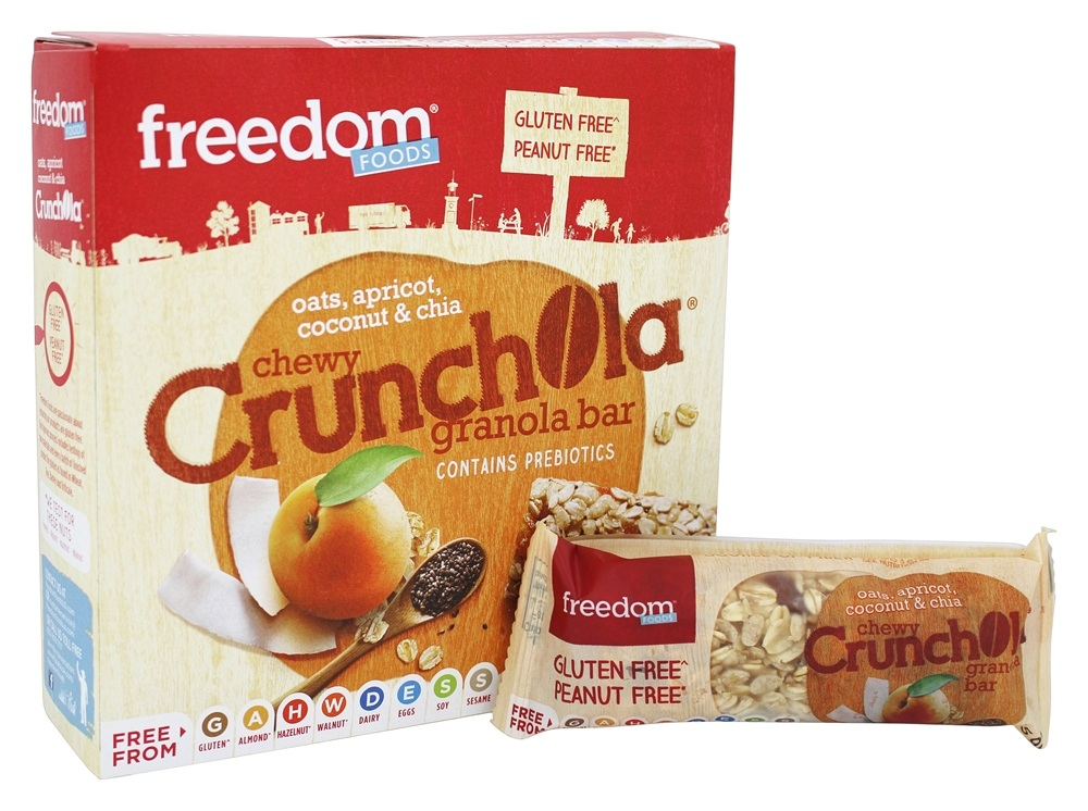 Freedom Foods - Gluten Free Chewy Crunchola Granola Bar Oats, Apricot, Coconut and Chia - 7.2 oz.