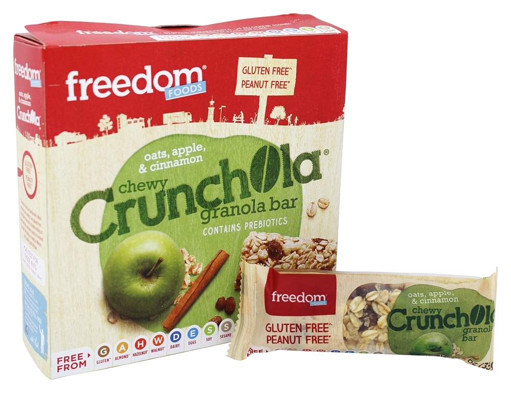 Freedom Foods - Gluten Free Chewy Crunchola Granola Bar Oats, Apple, and Cinnamon - 7.2 oz.