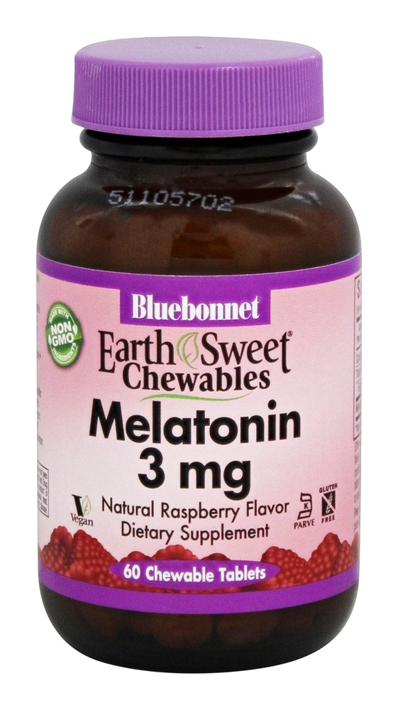 Bluebonnet Nutrition - EarthSweet Chewables Melatonin Natural Raspberry Flavor 3 mg. - 60 Chewable Tablets