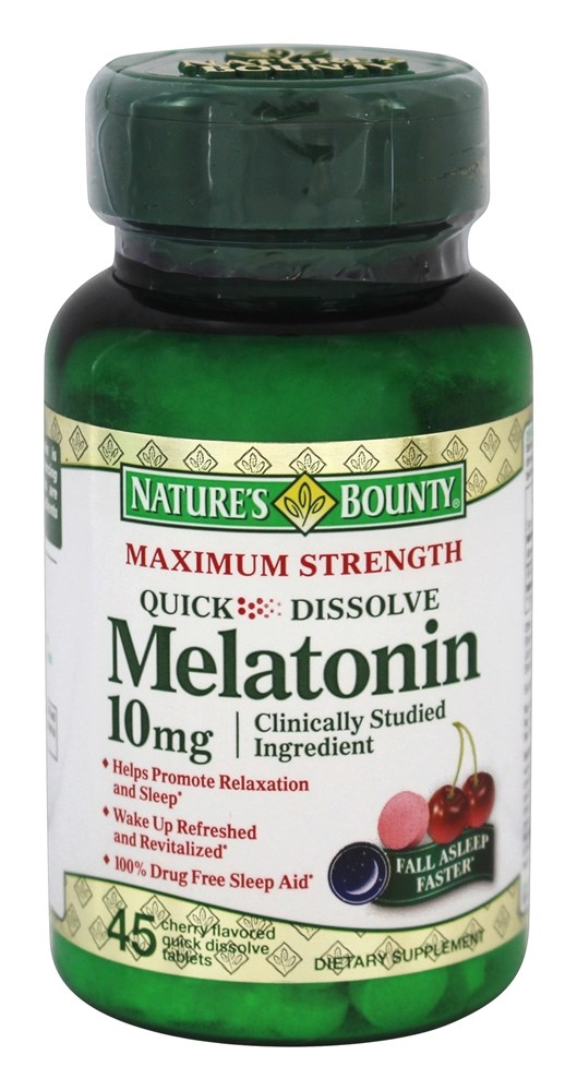 Nature's Bounty - Maximum Strength Melatonin 10 mg. - 45 Quick Dissolve Tablets