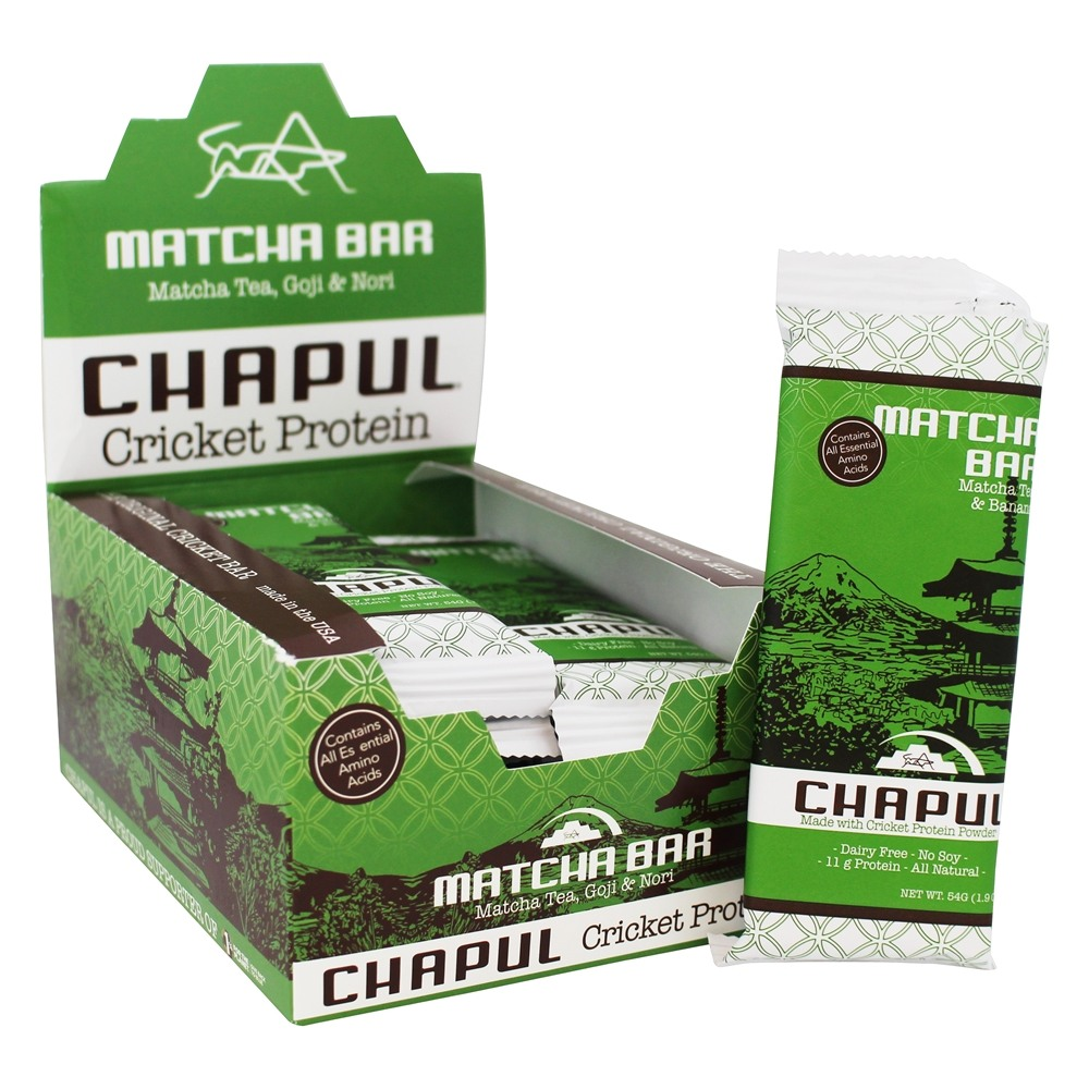 Chapul - Cricket Protein Bar Matcha Matcha Tea, Goji & Nori - 12 Bars