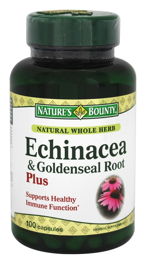 Nature's Bounty - Natural Whole Herb Echinacea and Goldenseal Root Plus - 100 Capsules