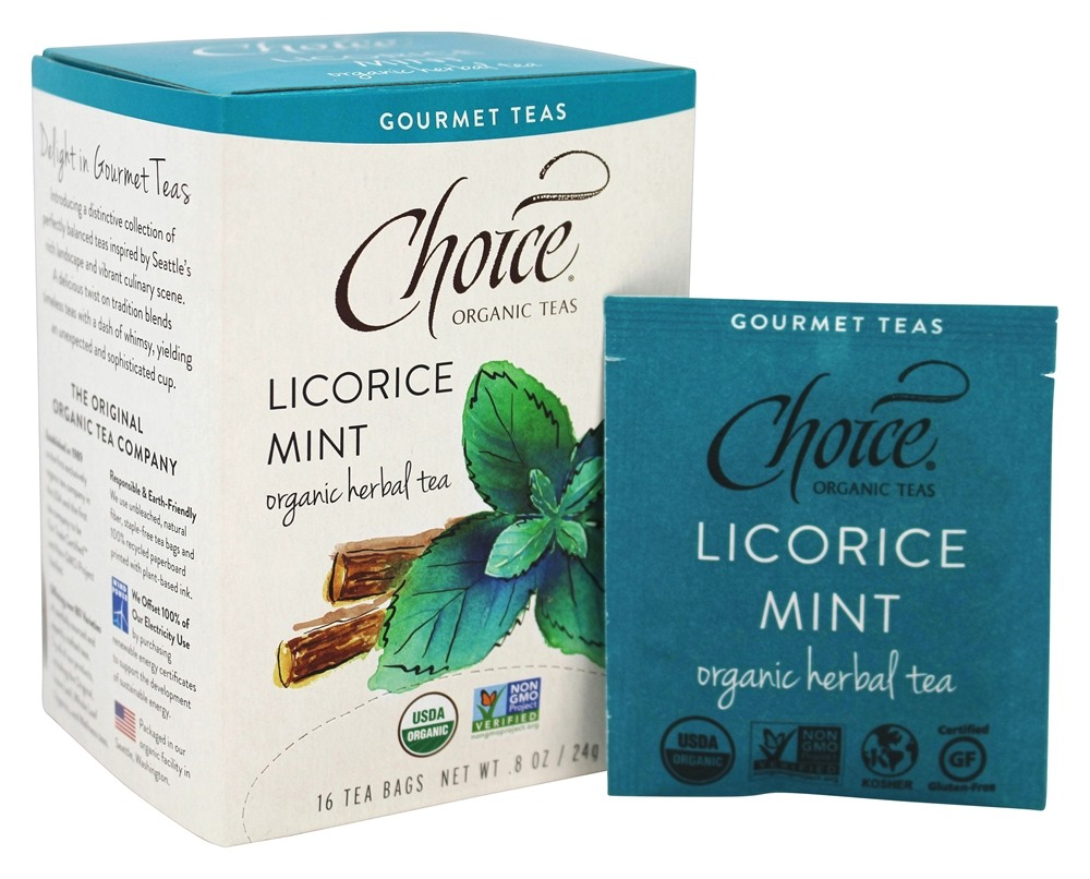 Choice Organic Teas - Gourmet Herbal Tea Licorice Mint - 16 Tea Bags