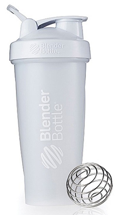 Blender Bottle - Classic Shaker Bottle with Loop Full-Color White - 28 oz. By Sundesa