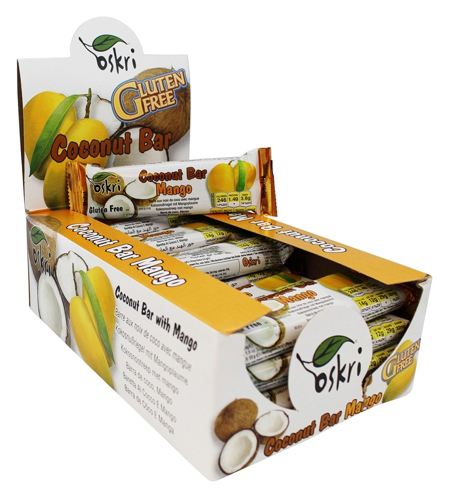 Oskri - Gluten Free Coconut Bar Mango - 20 Bars