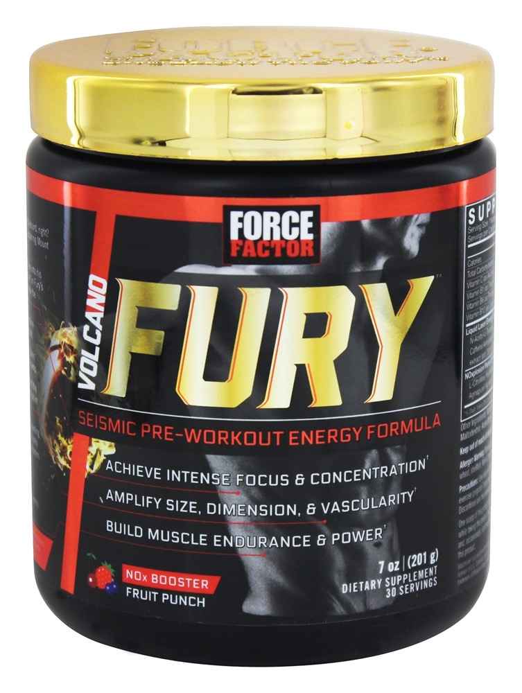 Force Factor - VolcaNO Fury Seismic Pre-Workout Energy Formula Fruit Punch - 201 Grams