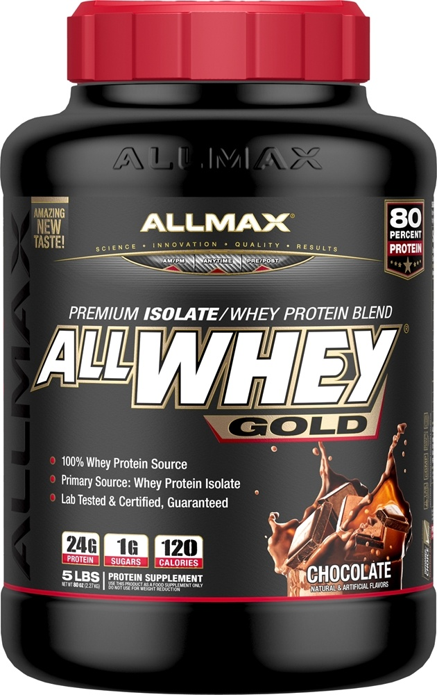 AllMax Nutrition - AllWhey Gold Premium Isolate/Whey Protein Blend Chocolate - 5 lbs.