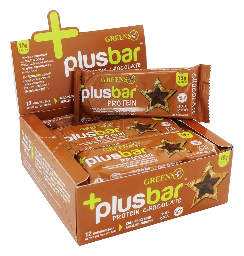 Greens Plus - +PlusBar Protein Bars Box Chocolate - 12 Bars