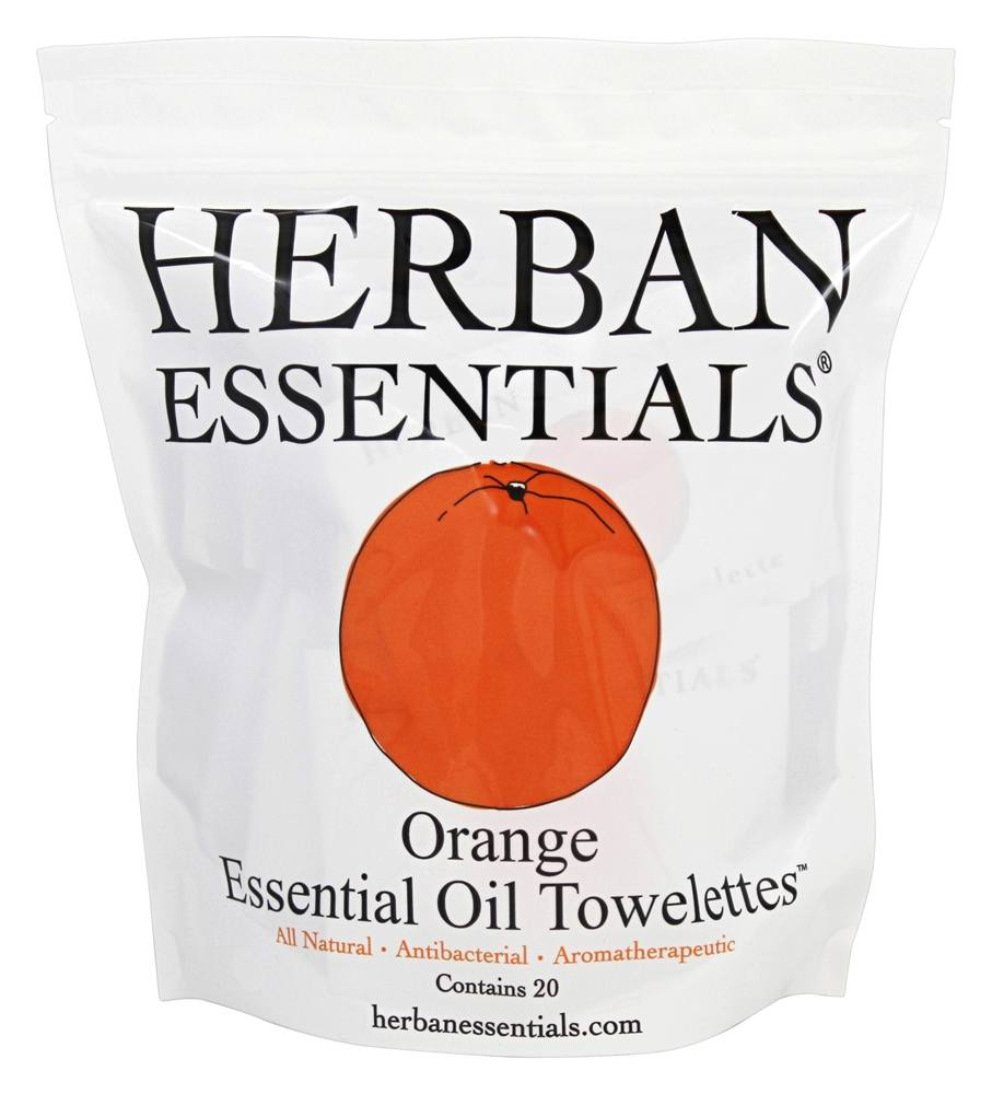Herban Essentials - Towelettes Essential Oil Orange - 20 Count