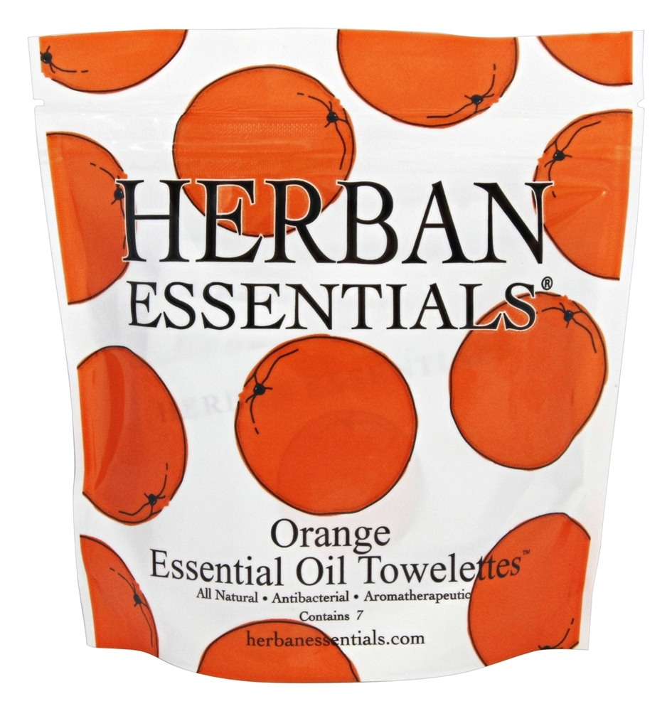 Herban Essentials - Towelettes Essential Oil Orange - 7 Count