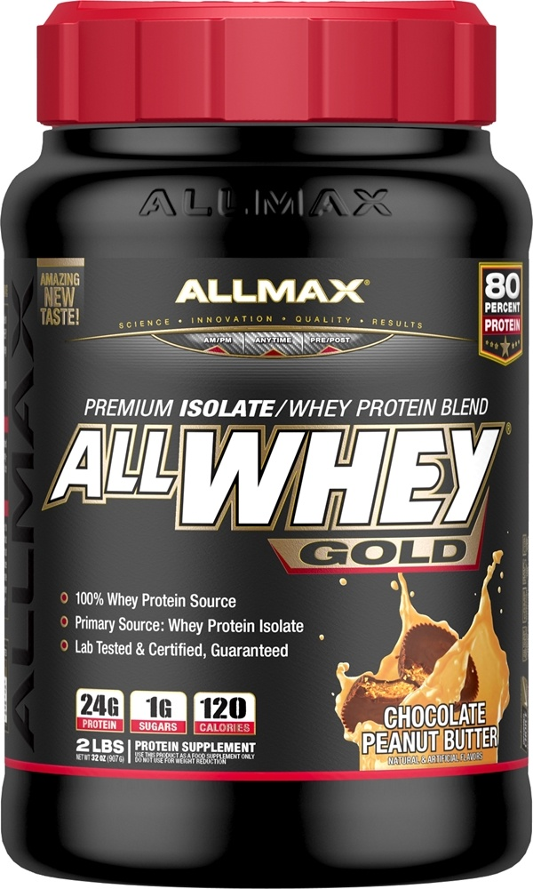 AllMax Nutrition - AllWhey Gold Premium Isolate/Whey Protein Blend Chocolate Peanut Butter - 2 lbs.