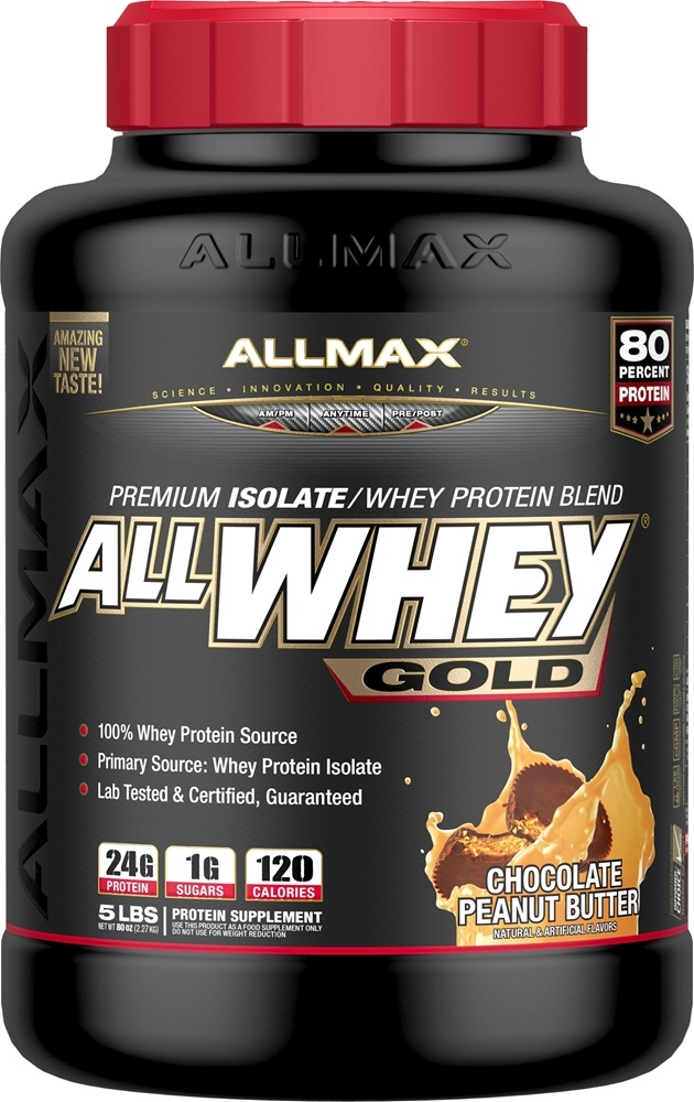 AllMax Nutrition - AllWhey Gold Premium Isolate/Whey Protein Blend Chocolate Peanut Butter - 5 lbs.