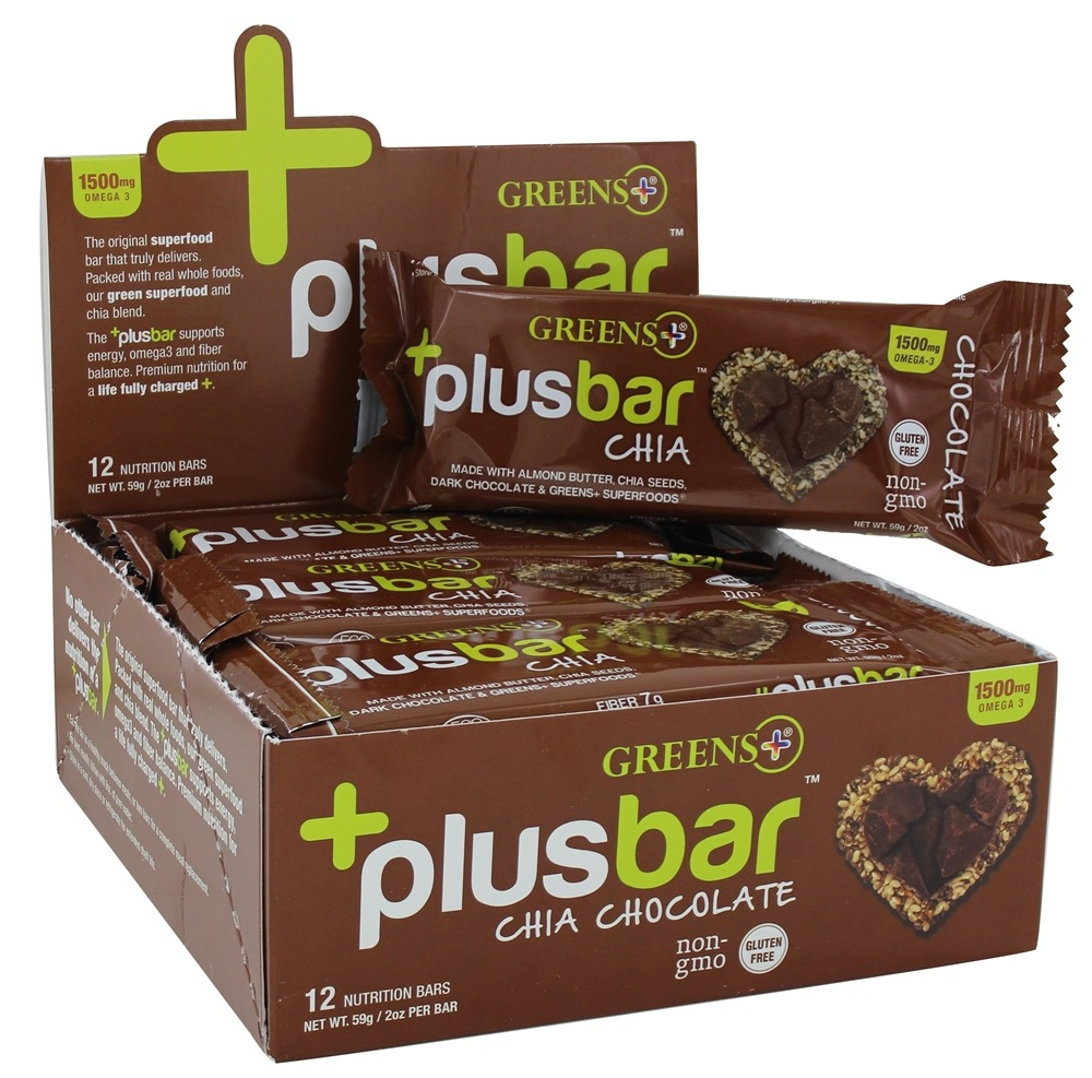 Greens Plus - +PlusBar Chia Bars Box Chocolate - 12 Bars